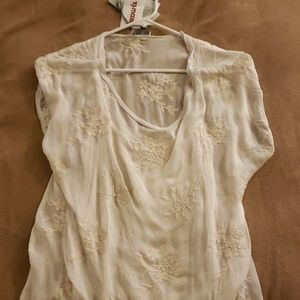 Silk blend, slip tshirt with gossamer overshirt